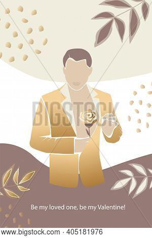 Vector Valentine's Day  Trendy Card, Story Or Poster, Abstract  Man Shapes And Silhouette In Gold Co