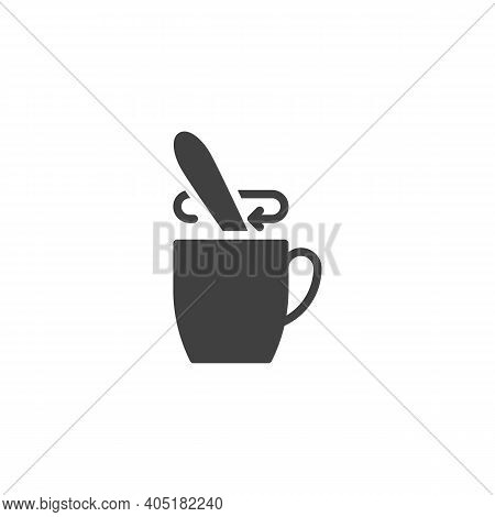Tea Stirring Spoon Vector Icon. Filled Flat Sign For Mobile Concept And Web Design. Cup Of Tea With