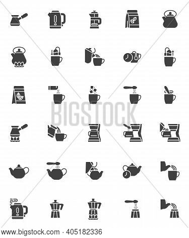 Brewing Tea And Coffee Instruction Vector Icons Set, Modern Solid Symbol Collection, Filled Style Pi