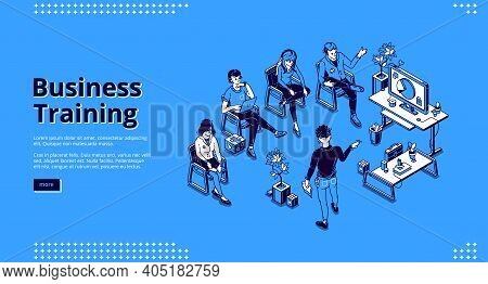 Business Training Isometric Landing Page. Corporate Education, Development, Meeting, Teamwork, Impro