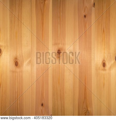 Wooden Texture Background, Pine Board, Spruce Table With Knots. Square Banner. Top View Light Wood T
