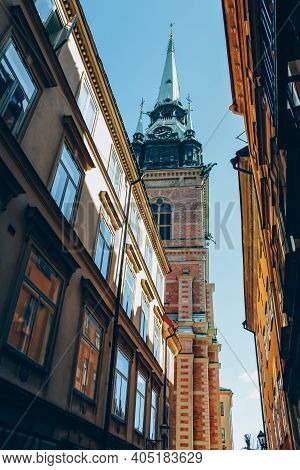 Colorful Historical Buildings In Gamla Stan, The Old Town Is Stockholm On Sunny Day. City Tour Conce