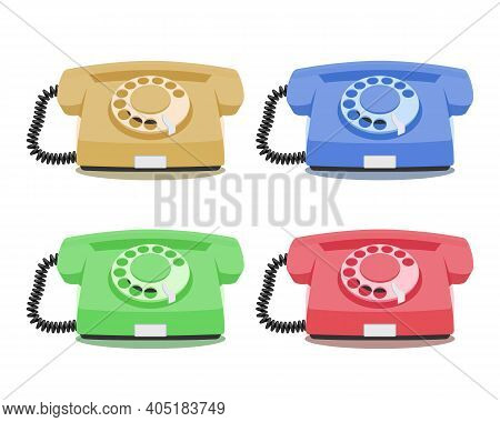 Old Rotary Phone Icons Set In Different Colors. Vintage Wired Phone Handset, Retro Phone. Vector Ill