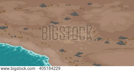 Sea Beach And Wasteland With Dry Cracked Soil. Vector Cartoon Landscape With Ocean Shore And Barren