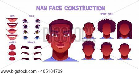 Black Man Face Construction, Avatar Creation With Different Head Parts Isolated On White Background.