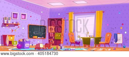 Messy Room In Kindergarten With Drawings On Furniture And Walls, Clutter And Trash. Vector Cartoon I