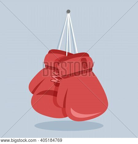 Boxing Gloves Hang On A Nail In The Wall. Simple Vector Illustration In Flat Design