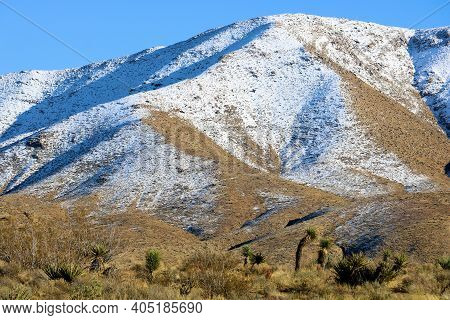 Barren Mountains Covered With Snow Surrounding High Desert Badlands Including Joshua Trees And Yucca