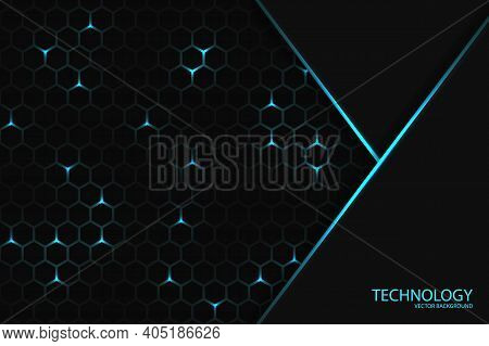 Dark Technology Hexagonal Background. Geometric Shape On A Honeycomb Grid. Blue Bright Energy Flashi