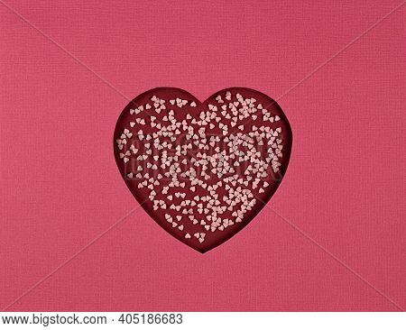 Abstract Background With Symbol Of Love. Cutted Paper Heart On Red Background, Paper Cut Out Art Sty