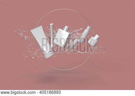 Cosmetics From Water Splash In Pink Background 3d Rendered