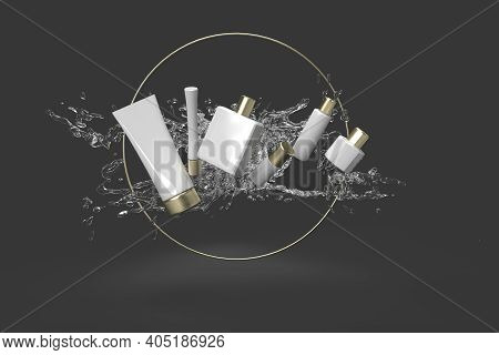 The Cosmetics From Water Splash In Black Background 3d Rendered