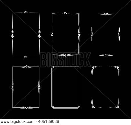 Set Of White Vintage Borders In Silent Film Or Art Deco Style Isolated On Black Backgrounds. Vector