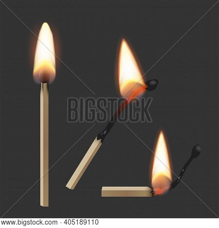 Lit Match Stick Burning With Fire Flame Set. Wooden Matches, Hot And Glowing Red Isolated On Dark Ba