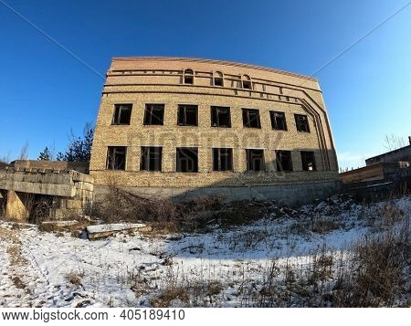 Abandoned construction site of Hospital. Built as a center for radiation injuries after the Chernobyl disaster.Abandoned during Ukrainian undependence crisis 1991. January 23, 2021Kiev Region,Ukraine