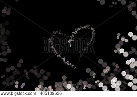 Abstract Bokeh Background Shape Heart On Black Background, Love Valentine Day, For Copy Text Card, W