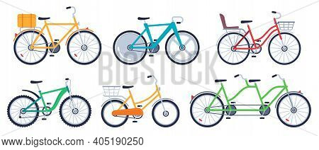 Bicycle Of Set Color Flat For Adult And Kids. Mountain Bicycle, Transport Exercise, Vector Illustrat