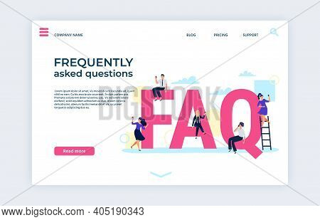 Frequently Asked Questions Landing Page. Faq Support, Ask And Help, Frequently Question And Advice A