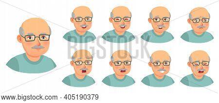 Grandfather Emotions Set. Character Senior Doubt, Elder Adult Face, Granddad Or Father Surprise Emot