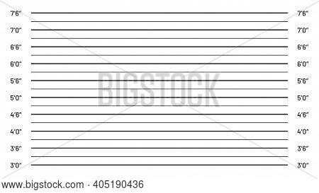 Mugshot Background, Police Lineup. Illustration Identification Backdrop For Criminal Wanted Photo, P