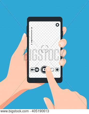 Taking Photo With Smartphone. Vector Photo Screen, Photograph Wth Telephone, Mobile Phone Smartphone