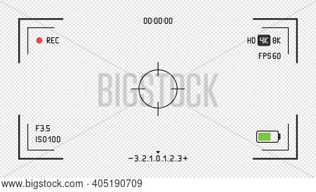 Video Camera Viewfinder On Transparent Background. Vector Focus Screen, Rec Video And Viewfinder, Ca
