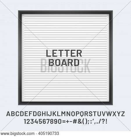 White Letter Board With Font Abc And Numbers, Letter Billboard To Report Lettering, Letterboard To A