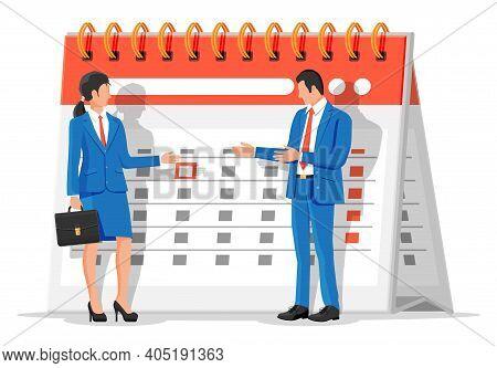 Paper Spiral Wall Calendar With Businessman And Businesswoman. Calendar With Woman And Man Icon. Sch