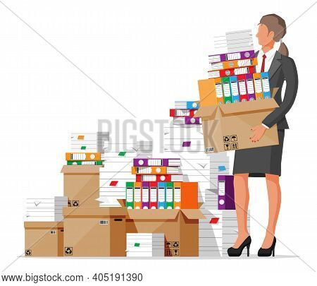 Stressed Businesswoman Holds Pile Of Office Documents. Overworked Business Woman With Stacks Of Pape