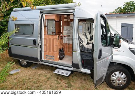 Bordeaux , Aquitaine  France - 01 24 2021 : Fiat Ducato Campereve Brand Rv Holiday Grey Motor Home W