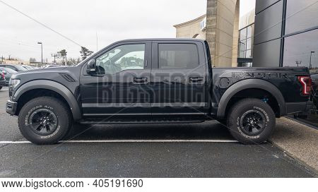 Bordeaux , Aquitaine  France - 01 24 2021 : Ford Raptor F150 Ranger Truck Us Car Of Multinational Au