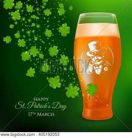 A Glass With A Pint Of Light Beer Decorated With The Label Of A Smoking Leprechaun And Shamrock Leav