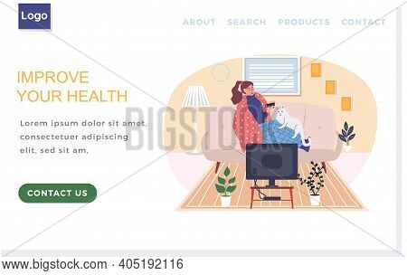 Internet Website Layout. Sick Woman Drinking Tea During Quarantine. Improve Human Health Concept. Fe