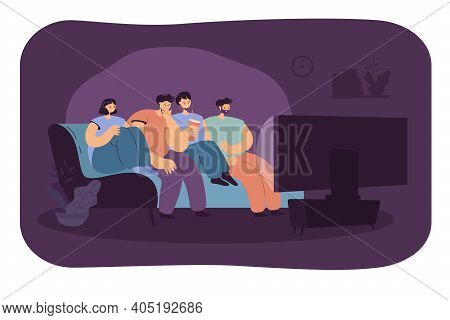 Scared Friend Watching Horror Movie Together Isolated Flat Vector Illustration. Cartoon Group Of Tee
