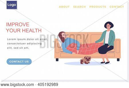 Elderly Mom Caring For Sick Daughter. Improve Your Health Landing Page Template. Female Character Wr