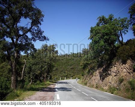Road Leading Through The Mountains In The South Of France Between Saint Tropez And Nice.