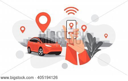 Isolated Vector Illustration Of Autonomous Parking Online Ride Car Sharing Service Connected Via Sma