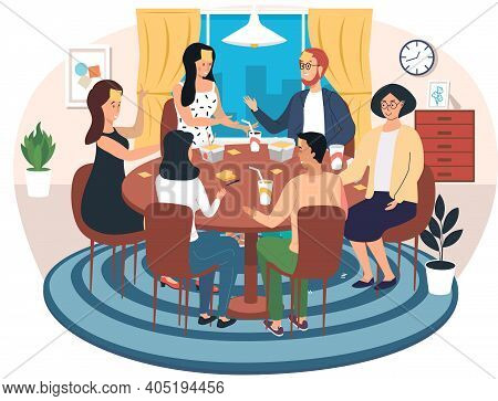Group Of People Is Playing Table Game And Eats. Young Characters Communicate And Spend Time Together