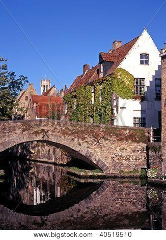 Bridge across canal, Bruges, Belgium.