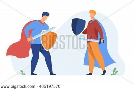 Guys Playing Knights And Fighting. Warrior Roles, Costumes, Capes, Sword, Shields. Flat Vector Illus