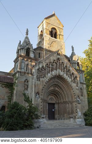 Budapest, Hungary - July 18, 2012: Front View Of The Jaki Chapel With Its Reliefs And Statues, In Th