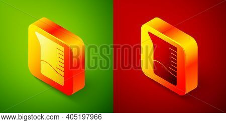 Isometric Measuring Cup Icon Isolated On Green And Red Background. Plastic Graduated Beaker With Han