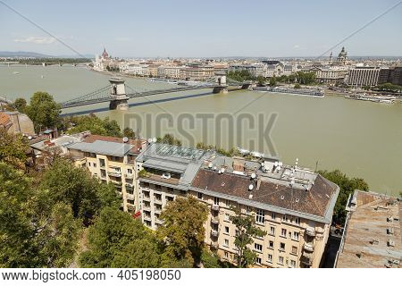 Budapest, Hungary - July 19, 2012: Panoramic View Of The Danube River, At Noon, With The Famous Chai
