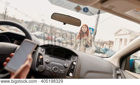 Teenage Girl Crossed The Street While Distracted Driver Running Over Her, Using His Mobile Phone. Te