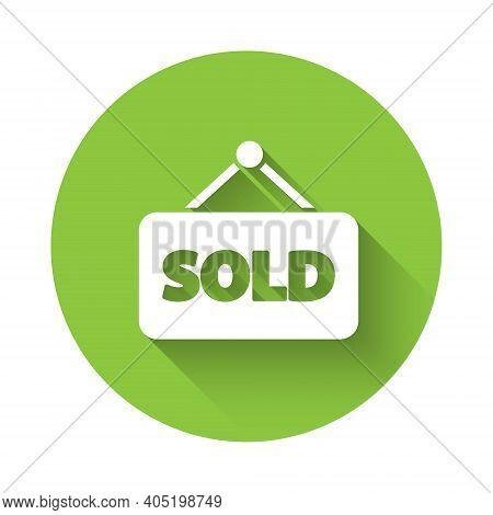 White Hanging Sign With Text Sold Icon Isolated With Long Shadow. Sold Sticker. Sold Signboard. Gree