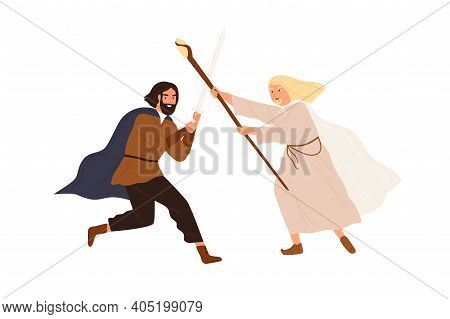 Medieval Battle Or Duel Between Good And Evil. Man And Wizard Armed With Sword And Spear Fighting In