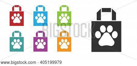Black Shopping Bag Pet Icon Isolated On White Background. Pet Shop Online. Animal Clinic. Set Icons