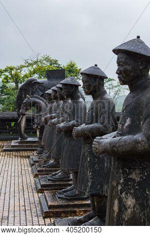 Hue, Vietnam - December 16, 2016: Statues Of Warriors In Imperial Khai Dinh Tomb In Hue, Vietnam. Ra