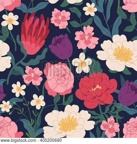 Gorgeous Seamless Pattern With Peony Roses, Tulips And Protea. Endless Floral Design With Gorgeous S