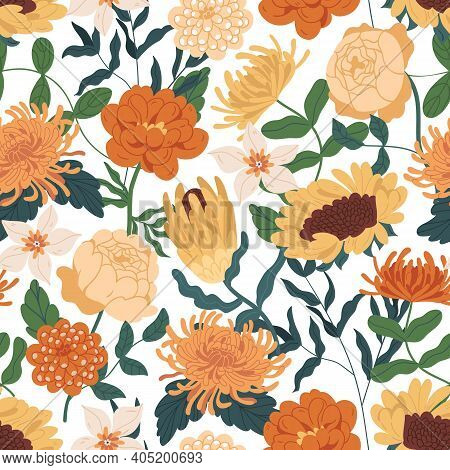 Elegant Seamless Floral Pattern With Fall Flowers. Endless Design With Marigolds, Sunflowers, Peony
